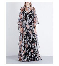 ELIE SAAB Floral-Print Chiffon Gown. #eliesaab #cloth #dresses