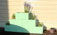 Cinder block planter in mint green