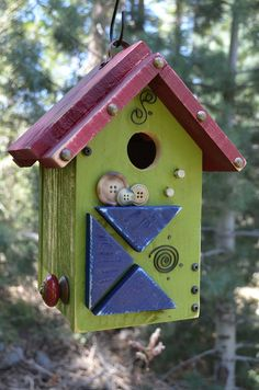 Birdhouse Handmade Wooden Vintage Button by BirdhousesByMichele,
