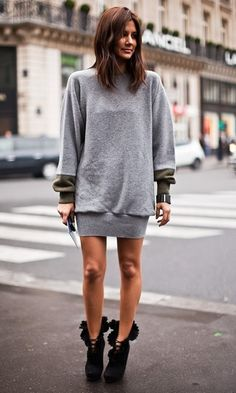 grey sweater dress...except need leggings underneath