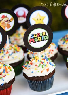 Birthday Cupcakes Ideas For Boys Mario Bros Ideas Mario Birthday Cake, Super Mario Birthday, Super Mario Party, Birthday Cupcakes, Super Mario Bros, 5th Birthday, Super Mario Cupcakes, Fun Cupcakes, Torta Blaze