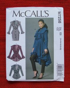 McCall's Sewing Pattern M7256 Coat Peplum by AlicesSewingCorner