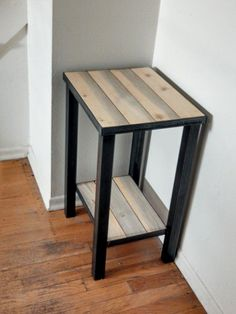 A custom welded steel base and frame with Colorado beetle kill pine planks give this end table a distressed industrial vibe. The pine can be finished with a water based polyurethane for protection… Homemade Furniture, Iron Furniture, Metal Frame, Industrial Bedroom Furniture, Welded Furniture, Metal End Tables, Metal Furniture, Industrial Style, Steel Furniture