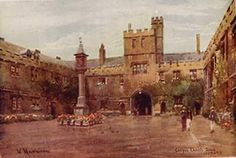 Corpus Christi College, Oxford, Antique Print, 1920s. with Charles Finch in The September Society.