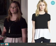 Ali's black and white layered top on Pretty Little Liars. Outfit Details: http://wornontv.net/50189/ #PLL