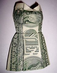 Origami Dollar Bill 3D mini dress instructions - This is how a geek leaves a tip at a restaurant!