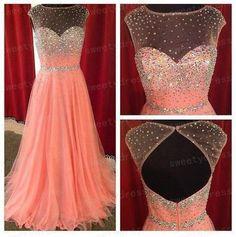 Designer+2014+High+Neck+Peach+Chiffon+Prom+Dress+A+by+sweetydress,+$219.00