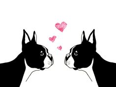 Boston Terrier Love Greeting Card. $4.00, via Etsy.