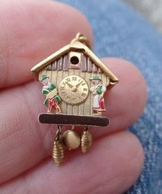 18k Yellow Gold Vintage Cuckoo Clock Charm Enamel Articulated Moves 2g