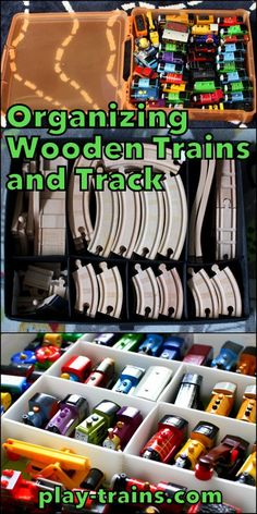 Organizing Wooden Trains and Track -- This would stay nice and put together in my wildest dreams!