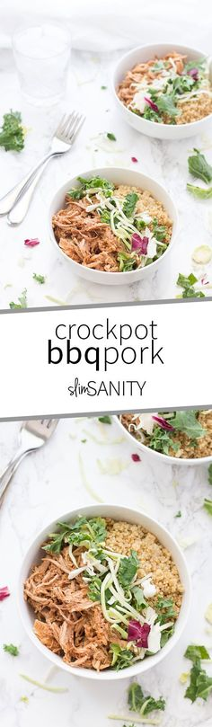 A clean crockpot BBQ pork recipe that is low sugar and doesn't use any processed sauces! Perfect for dinner or lunch food prep and meal planning.