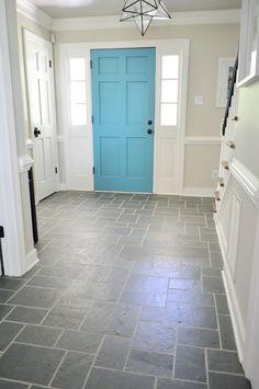 Painted Slate Floor In Entryway Using Annie Sloan Chalk