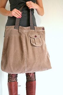 Skirt + Belt = bag! -- time to hit up the goodwill!