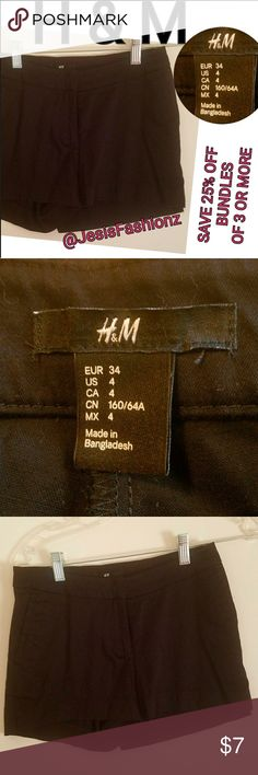 H&M Black Shorts GET READY FOR SUMMER!! SIZE 4 H & M BLACK SHORTS. ALL CLOTHING IS NWT/GENTLY WORN AND HAD BEEN CHECKED FOR DAMAGE  IF ANYTHING IS FOUND, IT WILL BE NOTED AND SHOWN. *ALL JEWELRY IS NWT/NWOT/UNUSED VINTAGE* **25% OFF BUNDLES OF 3 OR MORE ITEMS** ALL REASONABLE OFFERS ACCEPTED! BUY WITH CONFIDENCE~TOP 10% SELLER, 5 STAR RATING, FAST SHIPPING, & FREE GIFT(S) W/MOST ORDERS! H&M Shorts