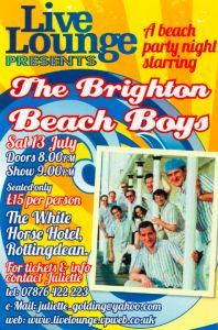 Not only is there The Deans - Our Big Gig happening today and tomorrow but we also have The Brighton Beach Boys playing at the White Horse tomorrow.  http://www.rottingdeanvillage.org.uk/beach-party-night-staring-brighton-beach-boys