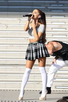 Ariana Grande white OTK socks