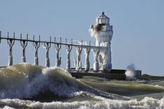 Frozen Lighthouses on Lake MIchigan