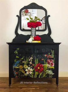 Antique Dresser With Transfer Take A Midnight Walk Through The Garden With This Pretty Lady 1860 39 S Dresser Updated With Heirloom Traditions Aio Paint In Iron Gate And Iod Transfer Midnight Garden Decoupage Furniture, Hand Painted Furniture, Funky Furniture, Refurbished Furniture, Paint Furniture, Repurposed Furniture, Furniture Projects, Furniture Makeover, Vintage Furniture