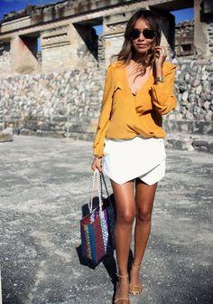 white skirt elegant Julie Sariñana