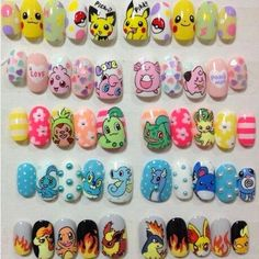 Probably The Best Nail Stickers Brands Out There – My hair and beauty Cute Nail Art, Gel Nail Art, Beautiful Nail Art, Love Nails, Pretty Nails, My Nails, Pikachu Nails, Anime Nails, Kawaii Nails