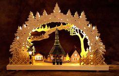 Schwibbogen, Dorf Seiffen mit Kirche, LED, inkl. Trafo beleuchtete Häuser 84301S | eBay