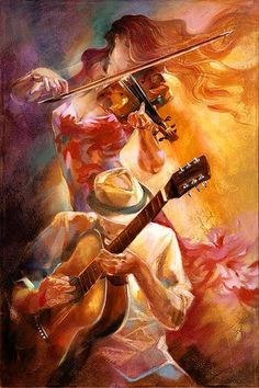 Music Art by Lena Sotskova #mucicians #guitar #violin
