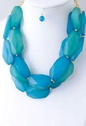Rumor Has it Necklace in Light Blue $24