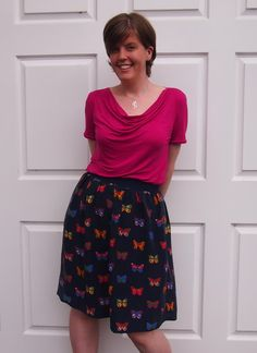 A Sew Over It cowl neck top and a simple elastic waist skirt Sew Over It Patterns, Pdf Sewing Patterns, Cowl Neck Dress, Cowl Neck Top, Elastic Waist Skirt, Refashion, New Outfits, Skater Skirt, Nightingale