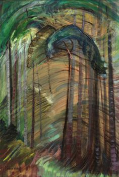 Emily Carr Somewhere, 1939 Oil on paper on board x Impressionist Paintings, Landscape Paintings, Tree Paintings, Painting Trees, Landscapes, Tom Thomson, Canadian Painters, Canadian Artists, Emily Carr Paintings
