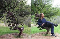 Artist Peter Cook, grew this living garden chair using tree shaping methods, primarily training a living tree through constricting the direction of branch growth. The chair took about eight years to grow.