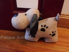 Country Style Fabric Sewn Hand Made Dog Door Stop Weight Present Home Gift