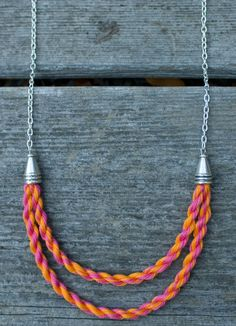 Handmade Pink and Orange Delicate Cotton Rope on Chain Multistrand Statement Necklace