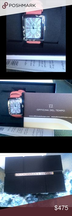 🎉TEMPORARY PRICE DROP🎉HURRY! Officials Del Tempo Italian women's Agadir diamond watch, features a stainless steel bezel with diamond accents. This has a pink genuine stingray band and push-button deployment clasp with white Art Deco dial. Water resistant to 100 meters. Never out of box, comes with manual and certificate. (Fourth picture is from beige watch in a separate listing.) A stunning piece. No low ball offers please. Serious offers entertained. Officina Del Tempo Accessories Watches