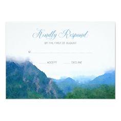 Watercolor Wedding Invitation Watercolor Mountain Wedding RSVP Response Card