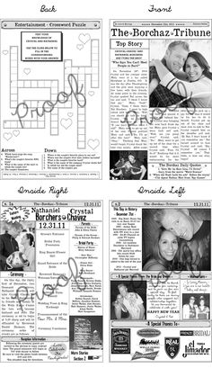 Wedding Program Newspaper Template | Mini Newspaper Program | Features