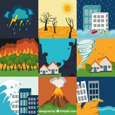 Set of natural disasters Free Vector Beach Illustration, Graphic Design Illustration, Save Earth Drawing, One Direction Art, Central Park Manhattan, Science Icons, Banners, 257, Cartoon Painting