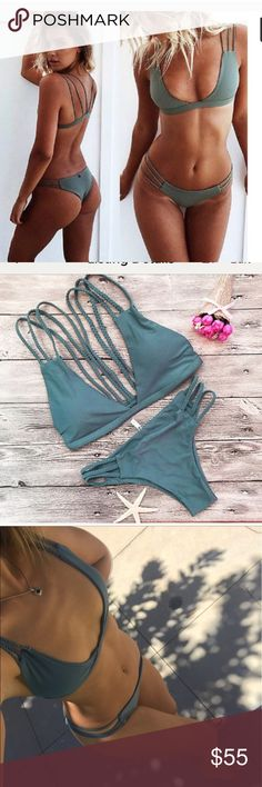 ❤️ARRIVED ❤️ Strappy Brazilian Cheeky Green Bikini Green strappy cheeky Brazilian bikini. Lined and lightly padded. Size Small Medium Large.  Fits true to size, but please check the size chart!! Marked acaica swimwear, mikoh, Frankie's bikinis, urban outfitters for visibility but it from a boutique. acacia swimwear Swim Bikinis