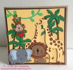 Cricut Jungle Card - This little boy's card features a monkey, elephant, giraffes, jungle vine, palm trees, and a lion. It uses the Create A Critter, Create A Critter 2, Animal Kingdom, and Summer Love Cricut Cartridges. You can also design and cut this using the Cricut Explore. This is an amazing card with lots of dimension and detail!!