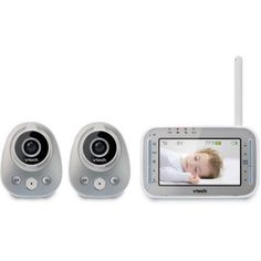VTech Safe VM342-2 Expandable Digital Video Baby Monitor with 2 Cameras, Wide-Angle Lens and Standard Lens, Gray