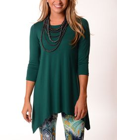 7253c317af09f Another great find on  zulily! Green Three Quarter-Sleeve Sidetail Tunic -  Plus