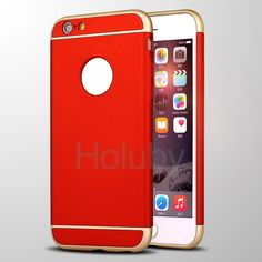 Detachable Hard PC Electroplated Bumper Frame Back Case for iPhone 6S Plus/ 6 Plus - Red