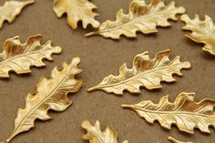 12 pc. Small Raw Brass Oak Leaves 27.5mm by 11mm  by BrassKicker, $4.75