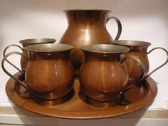 Vintage Copper Brass Mule Mugs Pitcher Tray Bar by TroveMagpie