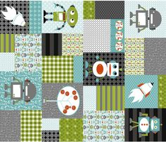 Big Bang Robots fabric by natitys on Spoonflower - custom fabric.... I love this for lil T's room