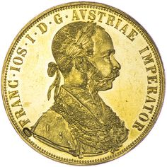 Franz Joseph I. 1848 - 1916 4 Dukat 1915 mit serb. KM Gold, Kontermarke Schwert (für Bosnien)