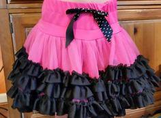 Popatu Skirt Petti Ruffle Tulle Tutu Pink Black Girls sz S small  5 6 #Popatu #Everyday