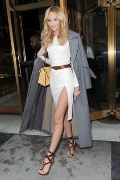 Candice Swanepoel, White Mini Dress, Long Grey Wool Coat, Mustard Yellow Bag