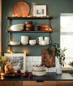 Crate and Barrel ( Deco Design, Küchen Design, House Design, Interior Design, Design Ideas, Boho Kitchen, New Kitchen, Green Kitchen Walls, Hippie Kitchen