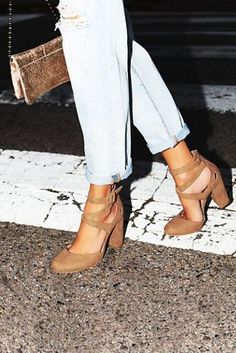 Vegan Atwood Heel | Strappy vegan suede block heels with a round vegan pony toes featuring a metallic snakeskin design.