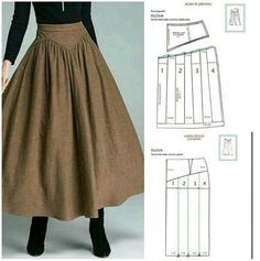 Fashion Sewing, Diy Fashion, Fashion Outfits, Skirt Patterns Sewing, Clothing Patterns, Sewing Clothes, Diy Clothes, Vintage Skirt, Pattern Fashion